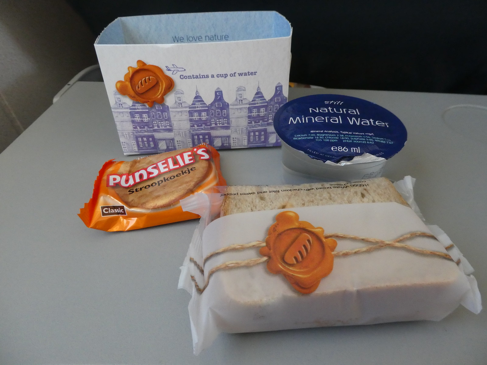 Snack lunch served on our KLM City Hopper Flight between Manchester and Amsterdam
