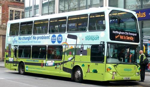 YT10 UWS' Nottingham City Transport' No. 988. 'NCT app'. Scania N230UD / Optare on Dennis Basford's railsroadsrunways.blogspot.co.uk'