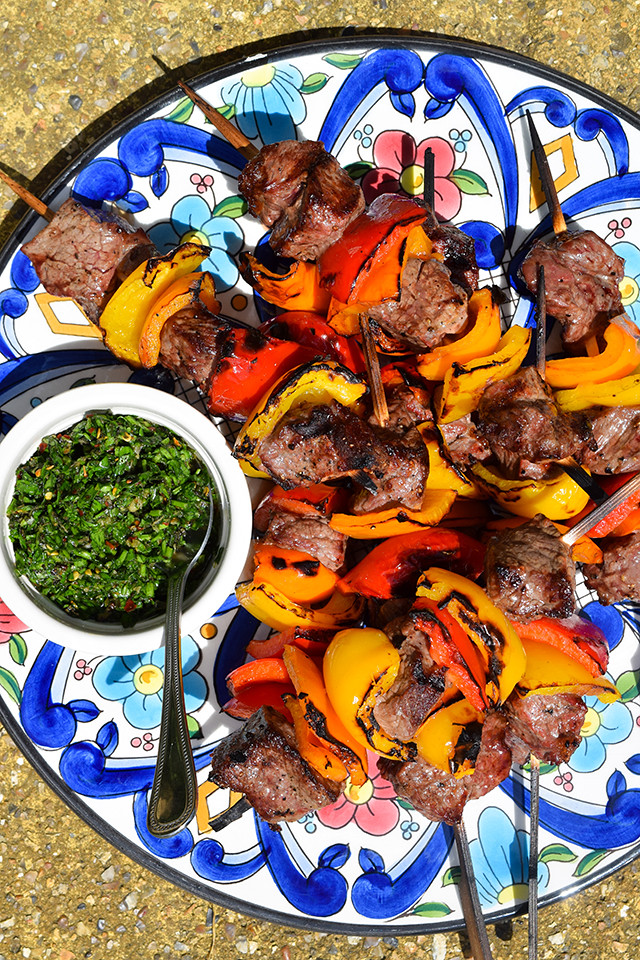 Barbecue Steak Skewers with Chimichurri Sauce #barbecue #grilling #steak #skewers #kabobs #chimichurri