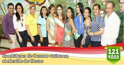 Candidatas de Canuto visitaron al Alcalde de Chone