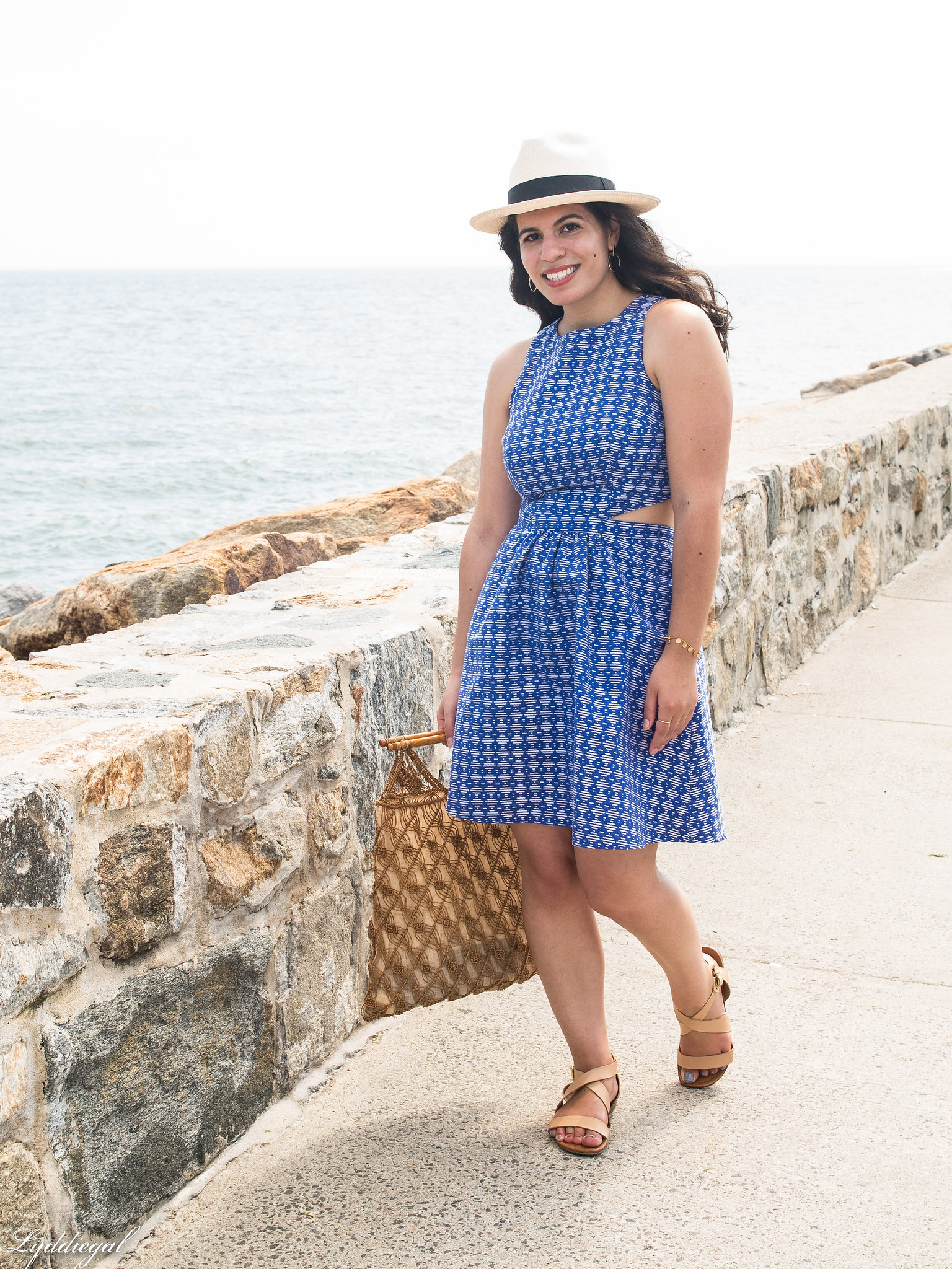 blue and white cutout dress, panama hat, macrame bag-3.jpg