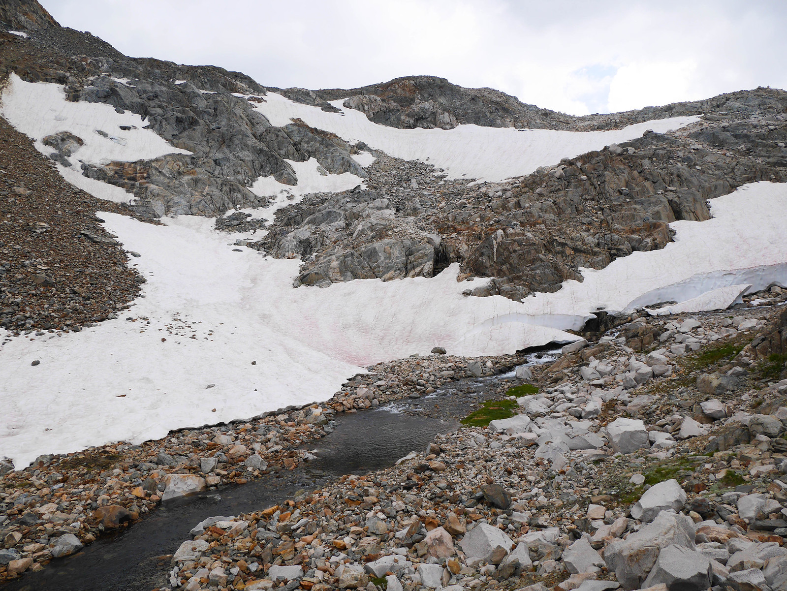 Still some snow in the steep canyon of the Middle Fork of the Kings River below Muir Pass