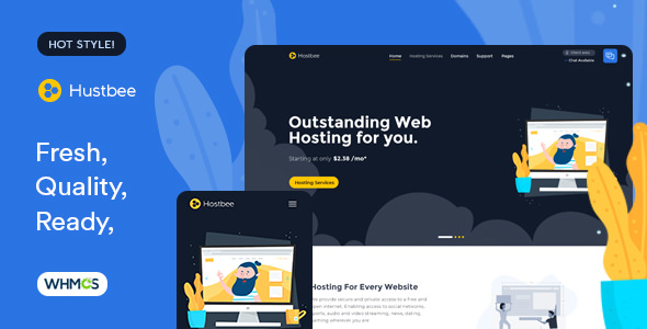 Hustbee – Hosting HTML and WHMCS Template Sept Update
