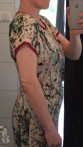 sewing self drafted dress one piece sleeves jersey tricot viscose Janine 425S