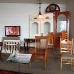 Examples of furnishing currently used in the Salt Lake Temple in the Temple Square South Visitors' Center.