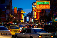 Charoen Krung Rd in the evening in Bangkok's Chinatown