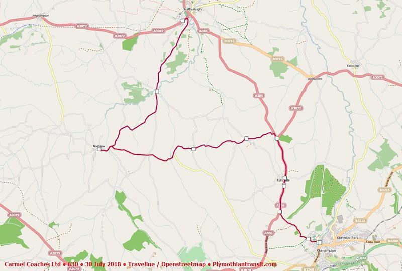 2018 07 30 • Carmel Coaches Ltd • 630 • Traveline Map
