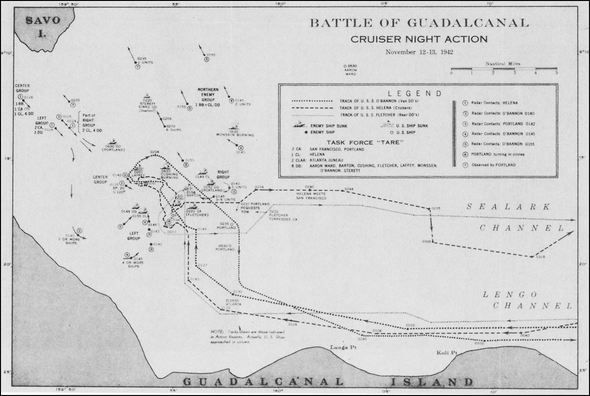 Cruiser night action chart, November 12-13, 1942.