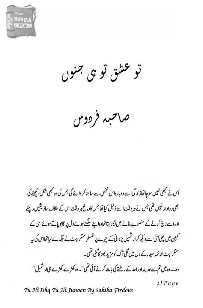 Tu Hi Ishq Tu Hi Junoon Complete Novel By Sahiba Firdos