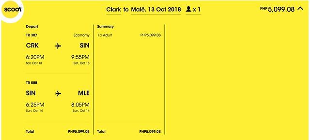 Scoot Promo Clark to Maldives One Way