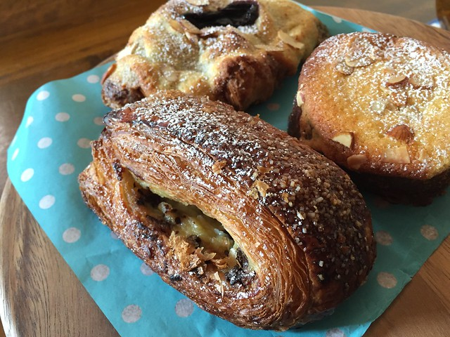 Pain Suisse, Seasonal Almond Croissant (mixed berries), Seasonal Almond Croissant (Passionfruit)