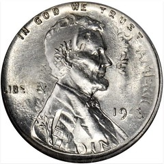 1943 Lincoln Cent--Overstruck on a 1943 Mercury Dime Obverse
