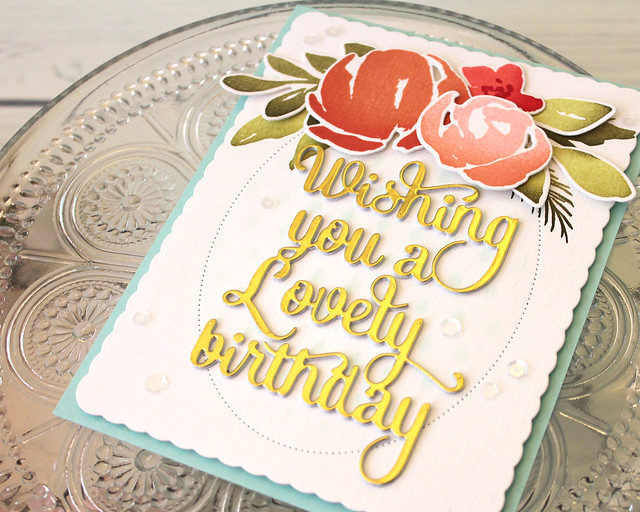 LizzieJones_PapertreyInk_August2018_SayItSimply_ScallopStackers_WatercolorFloralLovelyBirthdayCard2