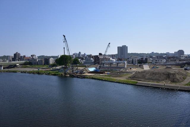 多摩川五反田川放水路樋門築造工事