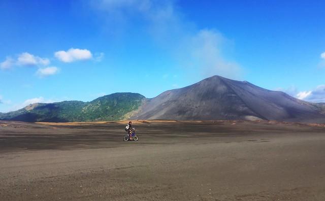 Mt Yasur. Bicycle.