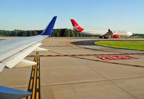 atlanta airport atl runway 27r9l aircraft airplanes airliners planes virgin atlantic airways airbus a330 taxiway cabin window seat view gvsxy