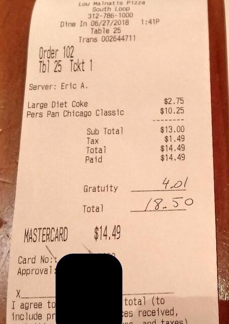 Chicago, USA | Pizzería Lou Malnati's | La cuenta