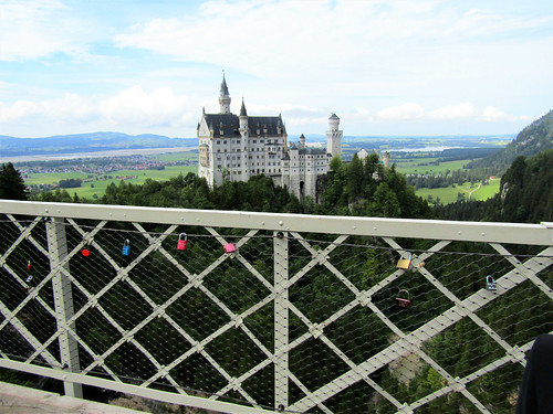 view of Neuschwanstein castle from the bridge