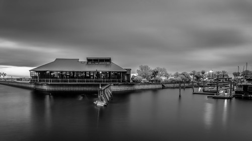 usa blackandwhite calm restaurant water hires harbor ©edrosack panorama florida longexposure waterscape landscape infrared marina cloud sanford river sky centralflorida boat olympus buildingandarchitecture lowlight bw cloudy ir