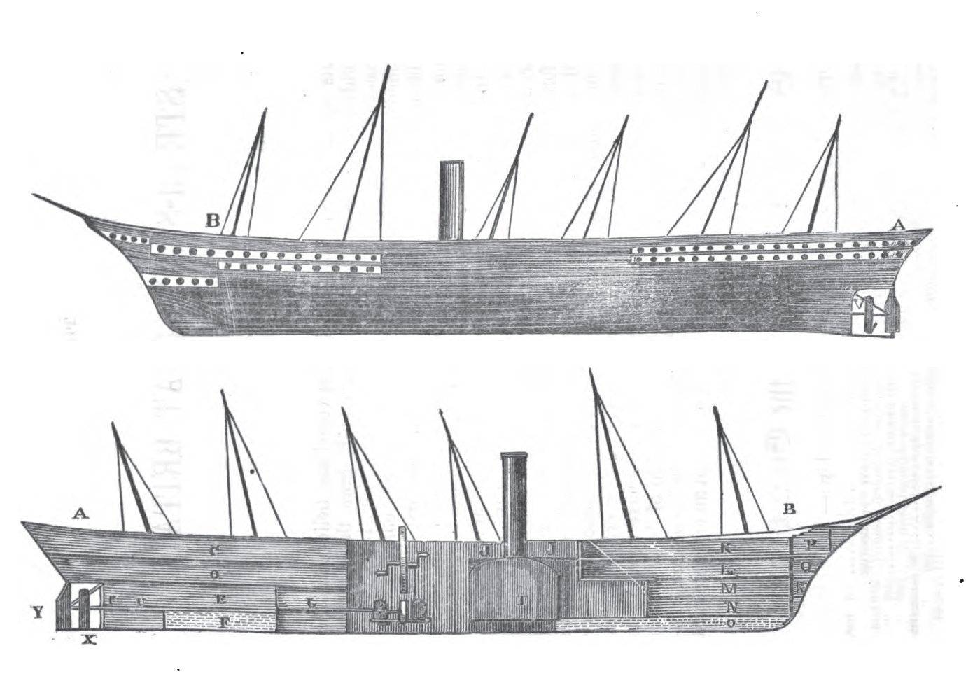 Profile (top) and longitudinal vertical section (bottom) of SS Great Britain, showing her interior layout and deck plan. Key to symbols in bottom image as follows (from Claxton, p. 6): A–B: Surface line of upper deck. C: Aft or promenade deck. D (looks like an