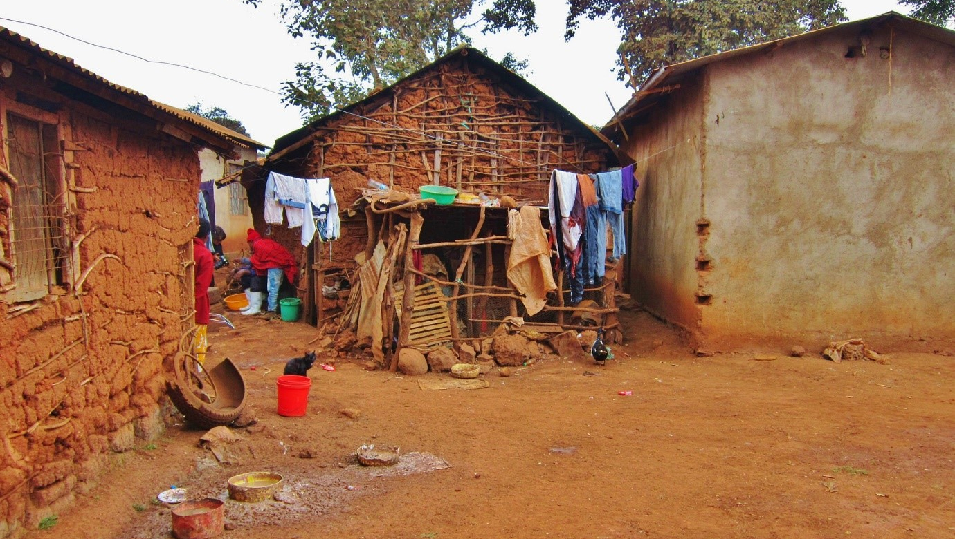 Laundry drying in a village in Africa.