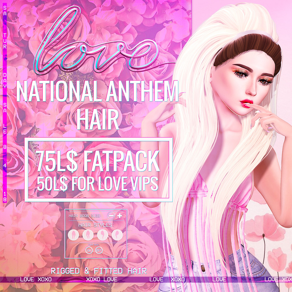 Love [National Anthem] 75L$ FATPACK Hair - The Saturday Sale - TeleportHub.com Live!
