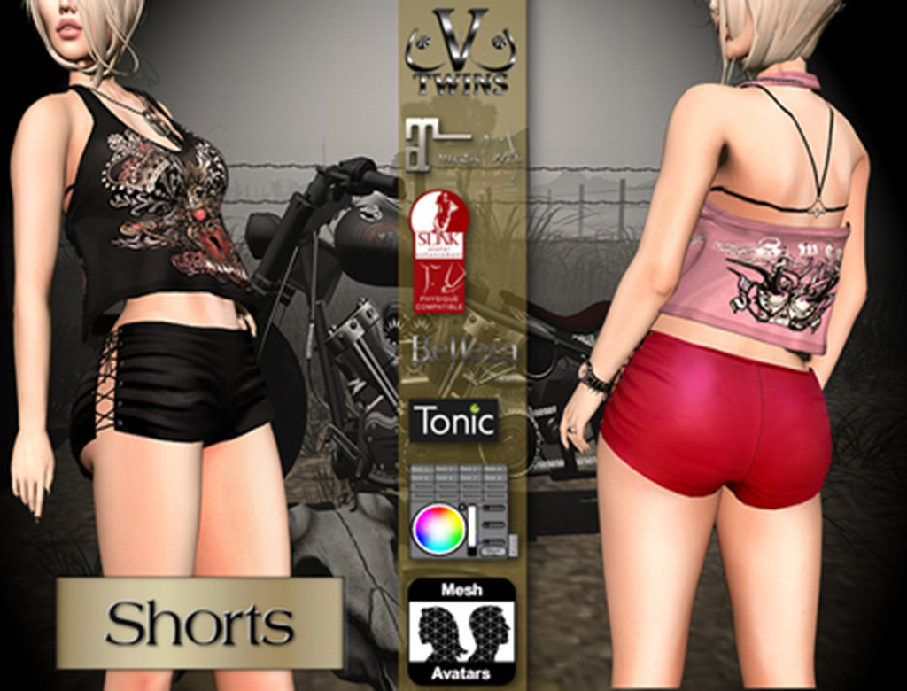 V-Twins Biker Clothes – Individual Items Mesh Shorts – Misfortune (Slink Belleza & Maitreya