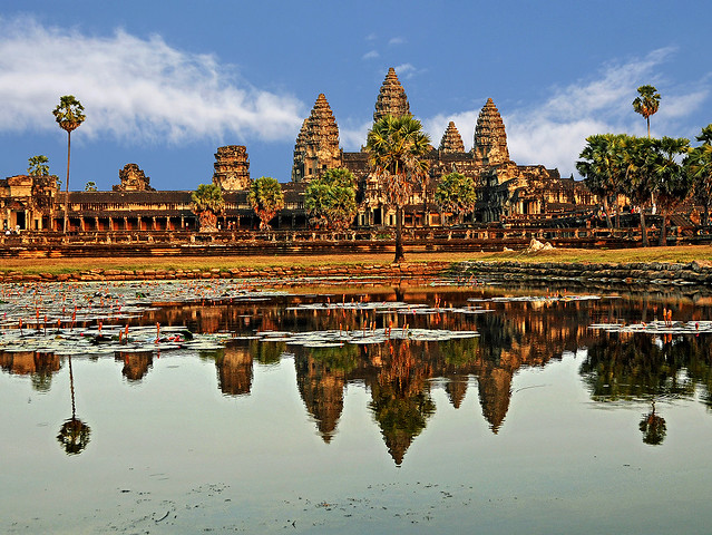 View of the large architectural masterpiece that is Angkor Wat in Cambodia, built by the Khymer Empire