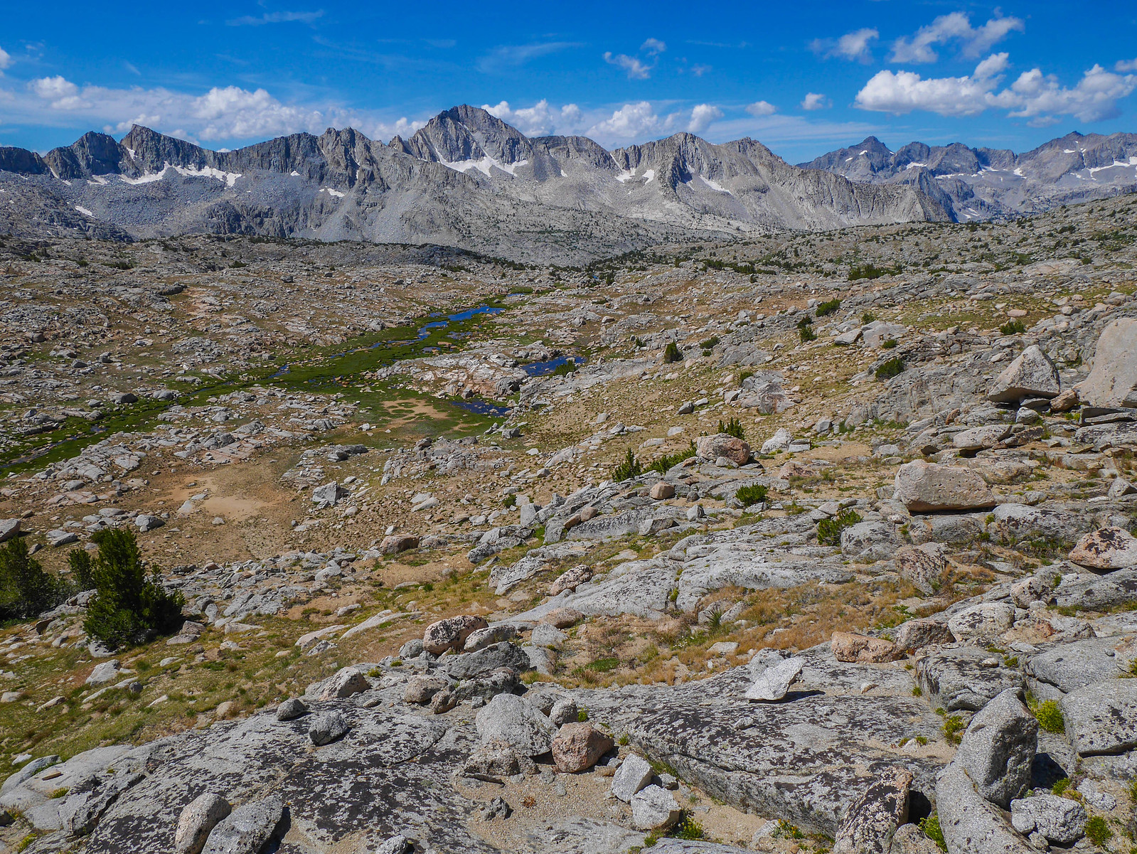 Looking down on Upper Dusy Basin