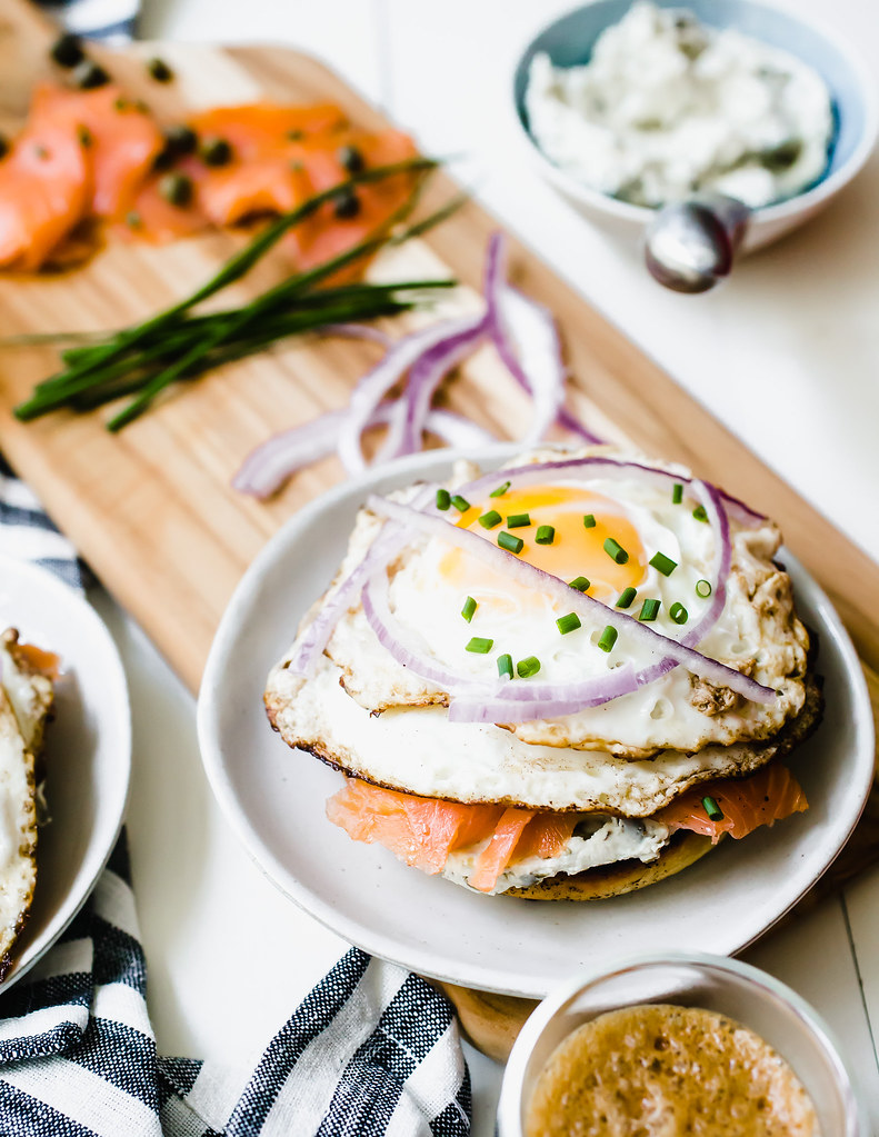 Smoked Salmon Egg Sandwich with Caper Cream Cheese
