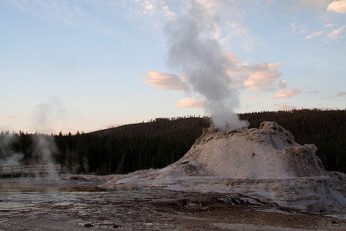 Castle Geyser at Sunset