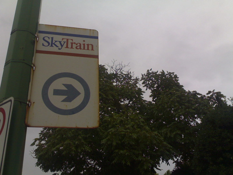 Rusted SkyTrain Sign Near Royal Oak