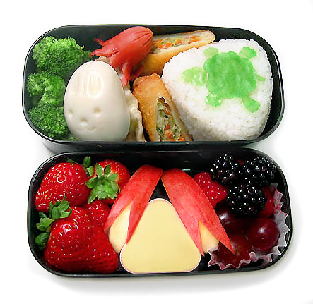 Turtle and Rabbit in flower bento 9-20-06
