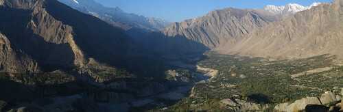 View of Karimabad, the Karakorams and the Hunza valley, from Duikar viewpoint