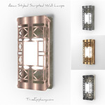 Asian Styled Lattice Wall Lamps 3D Models