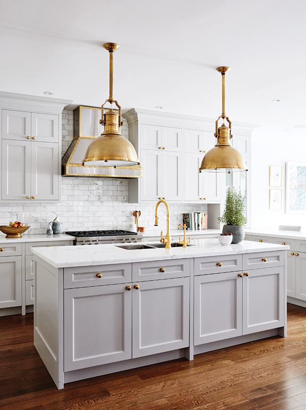 All White Kitchen Gold Hardware Hardwood Floors Subway Tiles