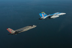 Navy Lt. William Bowen conducts an advanced aerial refueling control law test in an F-35C Lightning II