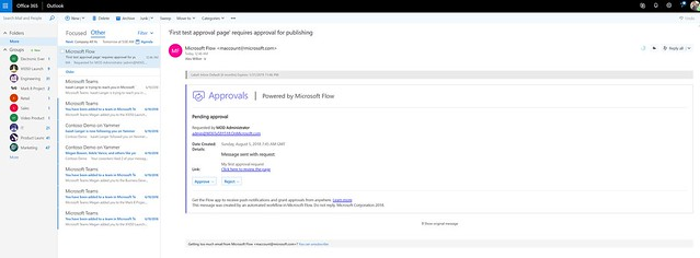 SharePoint Page Approvals - actionable messages