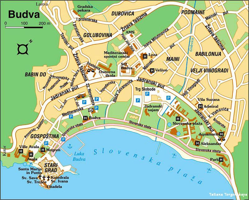 Общая карта Будвы