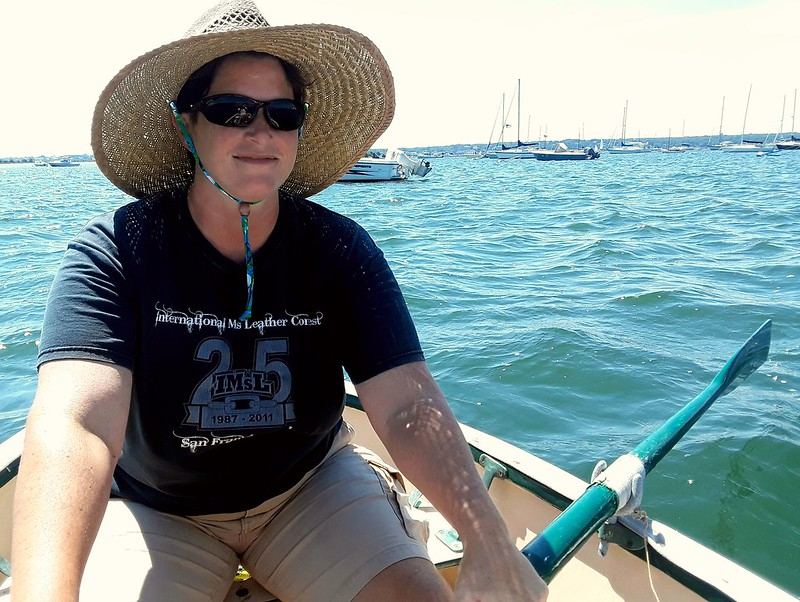 American Author Dena Hankins rows her little boat.