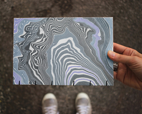 A recent custom marbled sketchbook. Artist Crystal Shaulis, Lake Michigan Book Press