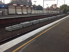 New concrete sleepers waiting to be laid at Clifton Hill Station