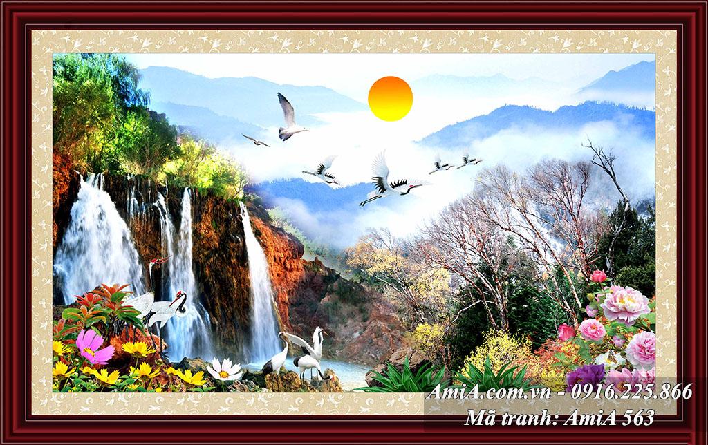 Tranh phong cảnh Trung Quốc thác nước trên đỉnh núi mặt trời mọc