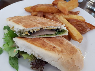 Pesto Mushroom Cheese Toastie with Chips at The Green Edge