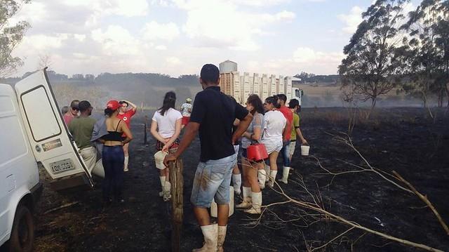 Famílias produtoras se organizaram para apagar o incêndio - Créditos: Arquivo pessoal