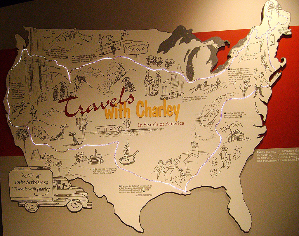 'Travels with Charley' map at the National Steinbeck Center, Salinas, CA