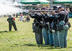 Civil War Reenactors Firing Rifles