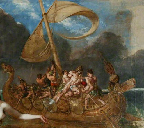 Detail from William Etty's The Sirens and Ulysses (1837). The bound Ulysses is shown as considerably larger than his crewmates.
