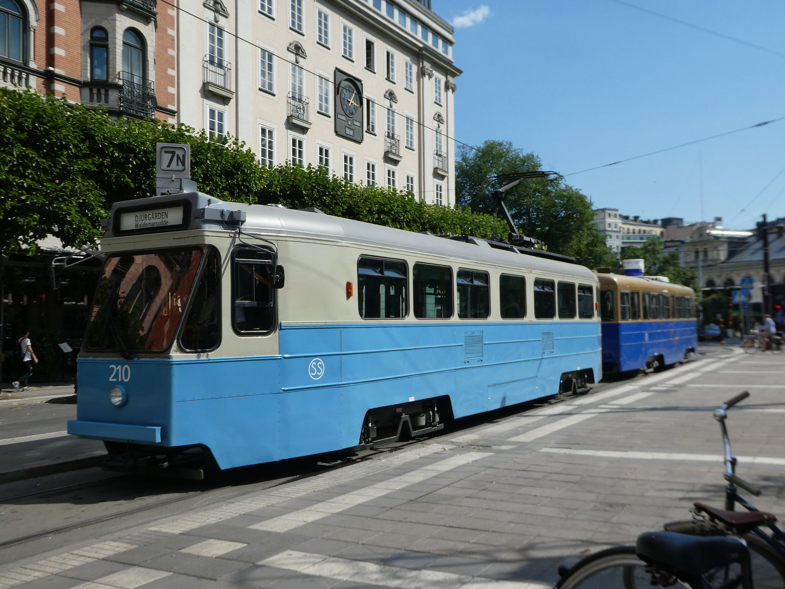 Heritage tram No. 7 in central Stockholm