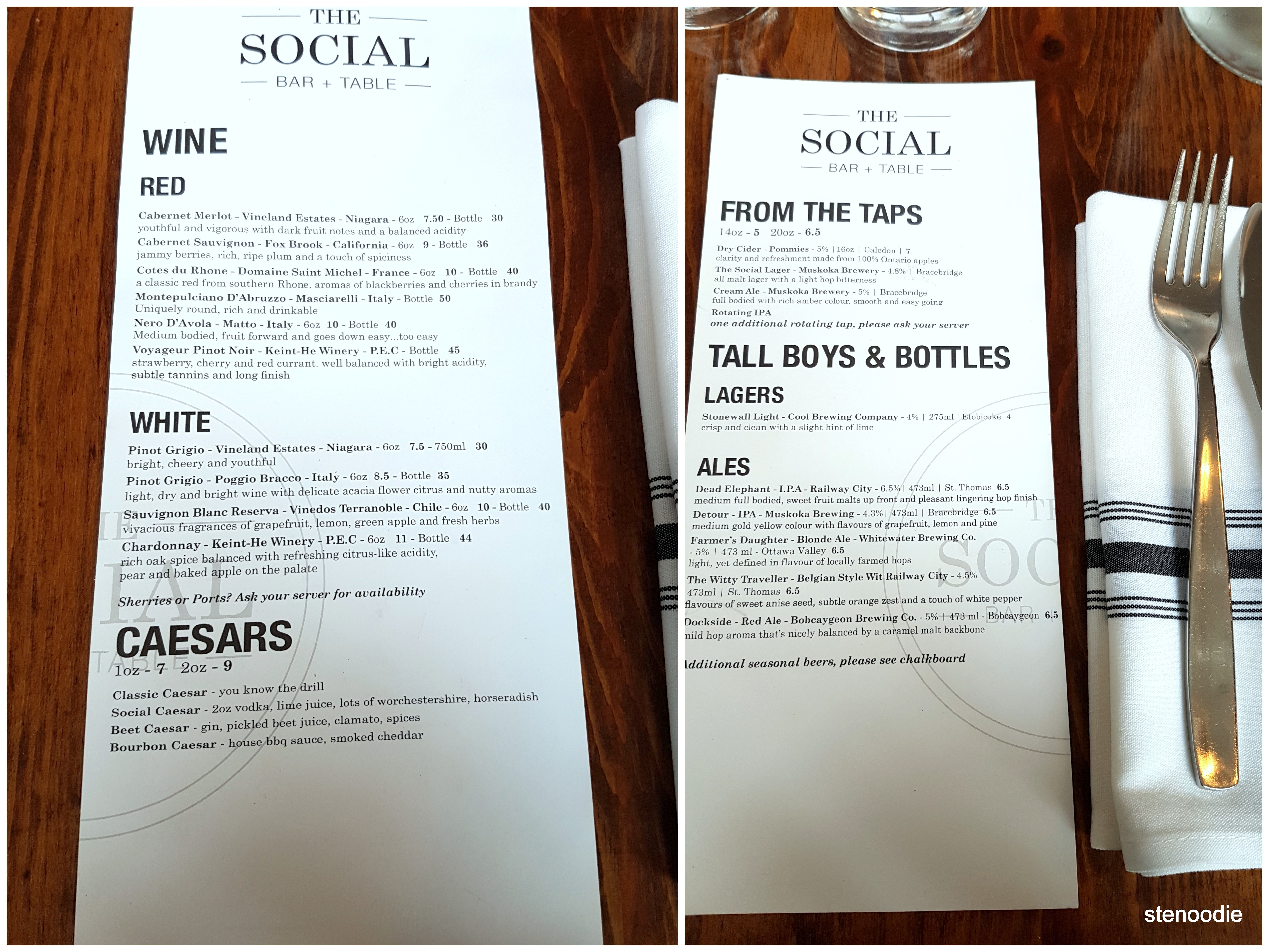The Social Bar and Table drinks menu and prices